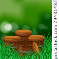 Four wooden buckets in the garden 29481487