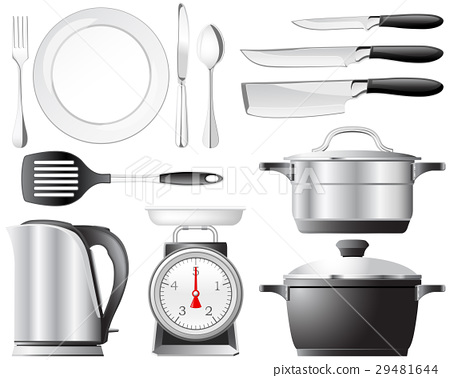 Kitchenware pots, knives, and other utensils used  29481644