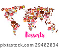 World map of cake, cupcake, donut, candy desserts 29482834