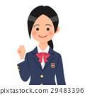 制服的女孩高中學生有膽量的擺在 29483396