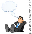 3D Businessman sleeping with thinking bubble 29483477