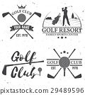 Set of Golf club concept with golfer silhouette. 29489596