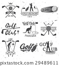 Set of Golf club concept with golfer silhouette. 29489611