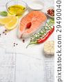 Fresh raw salmon steak with spices 29490040