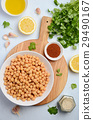 Ingredients for making hummus, top view. 29490167