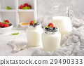 Homemade natural yogurt with fresh berries 29490333