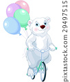 Polar Bear Riding a Bicycle with Balloons 29497515