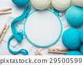 Embroidery hoop with fabric and balls decoration 29500599