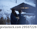 Ladies travel Snowscape hot spring 29507226