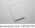 Paper sheet or notebook and pen. White table.  29508790