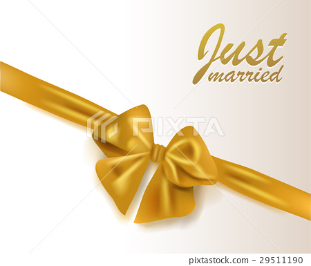 Abstract wedding background gold bow with ribbon 29511190