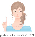 A woman pointing to a finger 29513228