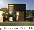 3d rendering black minimal wood and black house 29513482