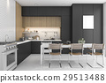 3d rendering black  kitchen with wood design 29513488