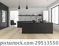 3d rendering black minimal kitchen near living roo 29513550