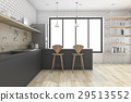 3d rendering black kitchen with shelf and decor 29513552