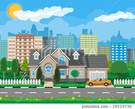 Private suburban house with car 29514736