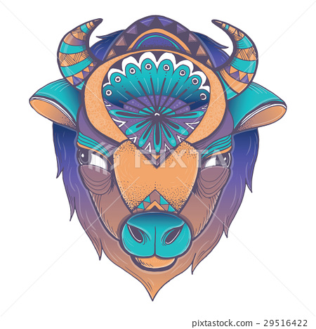 Vector poster with bison head 29516422