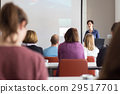 Woman giving presentation in lecture hall at 29517701
