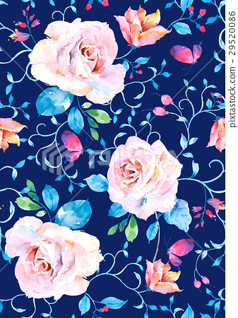 Seamless watercolor hand painted rose flower pattern 29520086