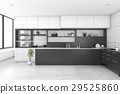 3d rendering black kitchen with brick wall 29525860