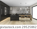 3d rendering black modern kitchen with dining zone 29525862
