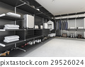 modern black walk in closet with shirt and dress 29526024