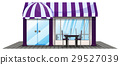 Coffee shop design with purple roof 29527039