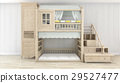 3d rendering white nice wood kid room 29527477