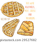 Vector set with pies with vegetables, meat, cheese 29527682