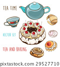 Vector set of pastry, baking, teapot and cup. 29527710