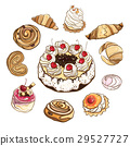 Set of sweet buns and cakes. Vector illustration. 29527727