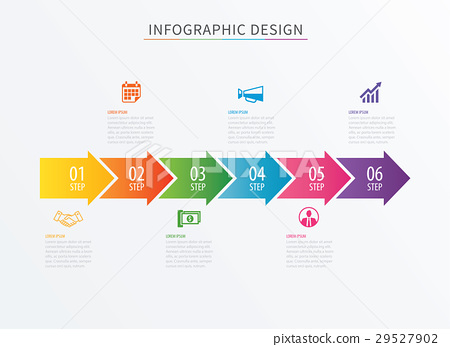 Infographics arrow number 6 step template.  29527902