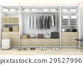 minimal wood walk in closet with wardrobe 29527996