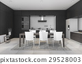 3d rendering black modern dining room and kitchen 29528003
