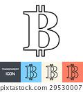 Transparent bitcoin sign icon. Vector icon 29530007
