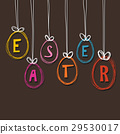 Cute hand drawn greeting card with easter eggs.  29530017