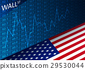 Stock exchange chart and american flag.  29530044