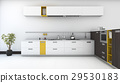minimal and modern yellow kitchen with oven in whi 29530183
