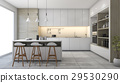 white modern design kitchen with lamp 29530290