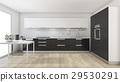 modern black kitchen near the window 29530291