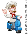 Cartoon Delivery Moped Scooter Chef 29530551