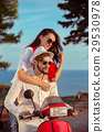 Couple in love riding a motorbike , Handsome guy 29530978