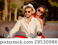 Couple in love riding a motorbike , Handsome guy 29530986