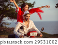 Couple in love riding a motorbike , Handsome guy 29531002