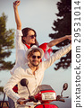 Couple in love riding a motorbike , Handsome guy 29531014