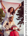 Couple in love riding a motorbike , Handsome guy 29531030