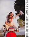 Couple in love riding a motorbike , Handsome guy 29531043