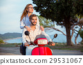 Couple in love riding a motorbike , Handsome guy 29531067