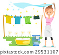 Washing on a sunny day. Holiday activities.  29531107